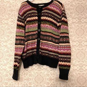 Vintage Ugly Grandma Striped Cardigan Sweater Knit